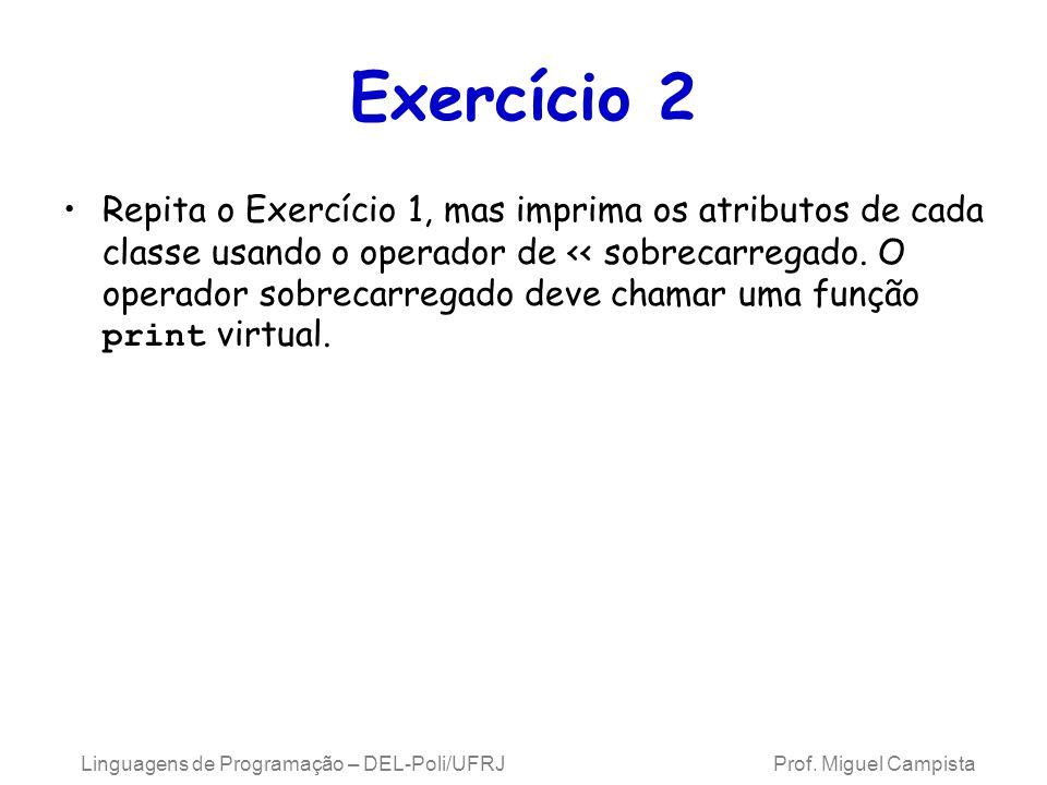 Linguagens de Programação – DEL-Poli/UFRJ Prof. Miguel Campista Exercício 2 Repita o Exercício 1, mas imprima os atributos de cada classe usando o ope