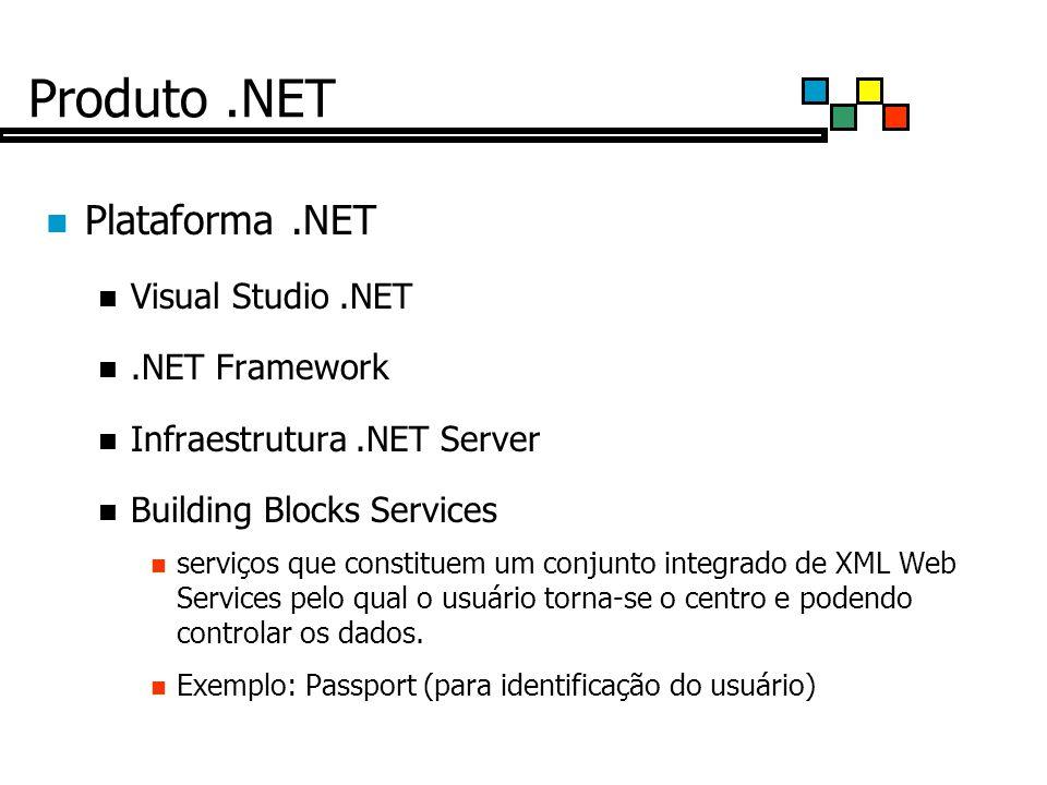 Produto.NET Plataforma.NET Visual Studio.NET.NET Framework Infraestrutura.NET Server Building Blocks Services serviços que constituem um conjunto integrado de XML Web Services pelo qual o usuário torna-se o centro e podendo controlar os dados.