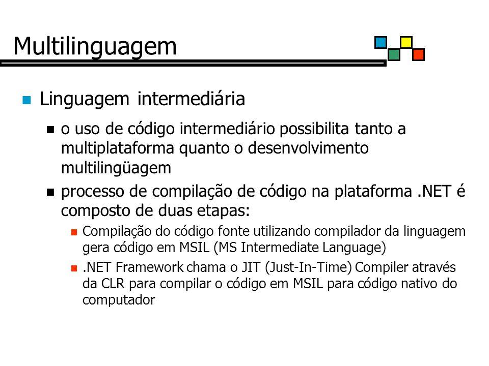 Multilinguagem Linguagem intermediária o uso de código intermediário possibilita tanto a multiplataforma quanto o desenvolvimento multilingüagem processo de compilação de código na plataforma.NET é composto de duas etapas: Compilação do código fonte utilizando compilador da linguagem gera código em MSIL (MS Intermediate Language).NET Framework chama o JIT (Just-In-Time) Compiler através da CLR para compilar o código em MSIL para código nativo do computador