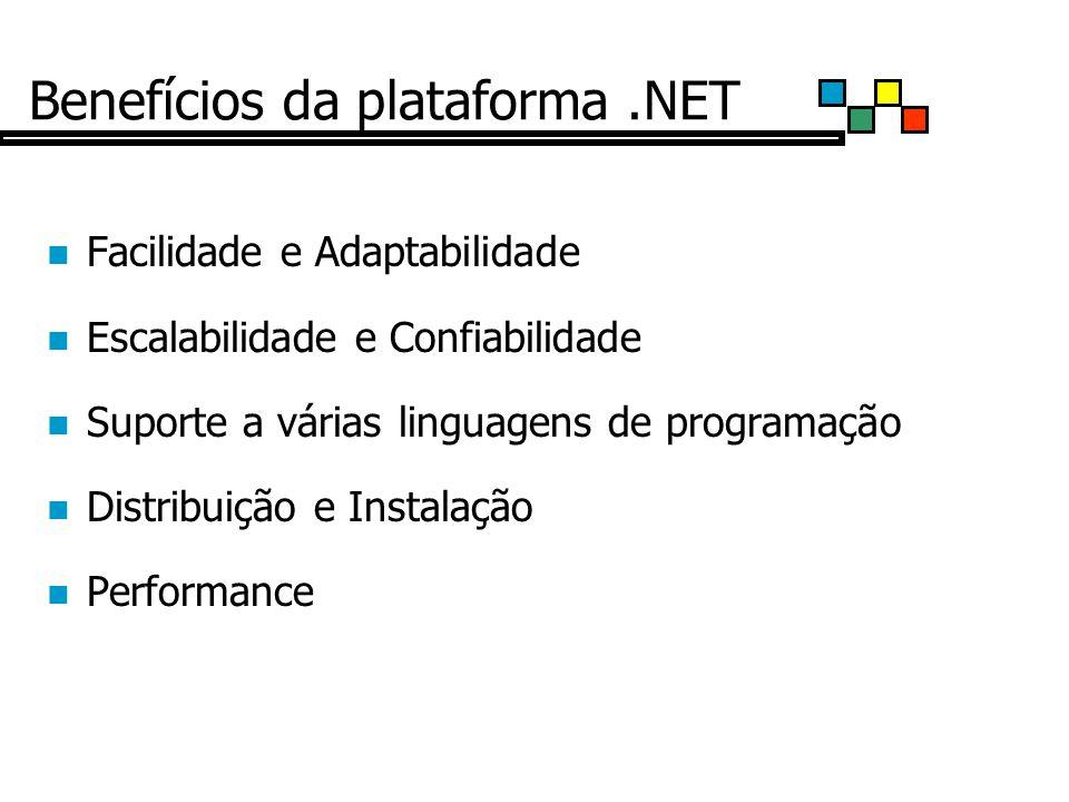 Benefícios da plataforma.NET Facilidade e Adaptabilidade Escalabilidade e Confiabilidade Suporte a várias linguagens de programação Distribuição e Instalação Performance