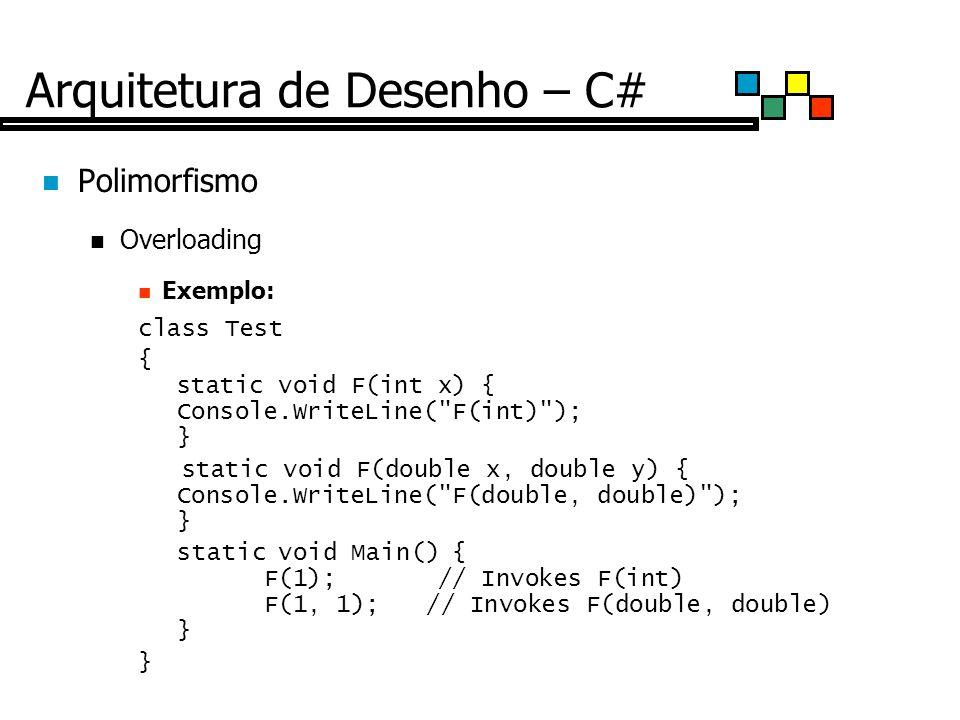 Arquitetura de Desenho – C# Polimorfismo Overloading Exemplo: class Test { static void F(int x) { Console.WriteLine( F(int) ); } static void F(double x, double y) { Console.WriteLine( F(double, double) ); } static void Main() { F(1); // Invokes F(int) F(1, 1);// Invokes F(double, double) } }