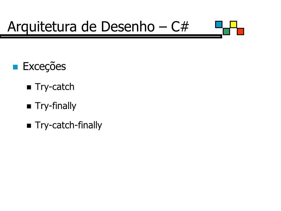 Arquitetura de Desenho – C# Exceções Try-catch Try-finally Try-catch-finally