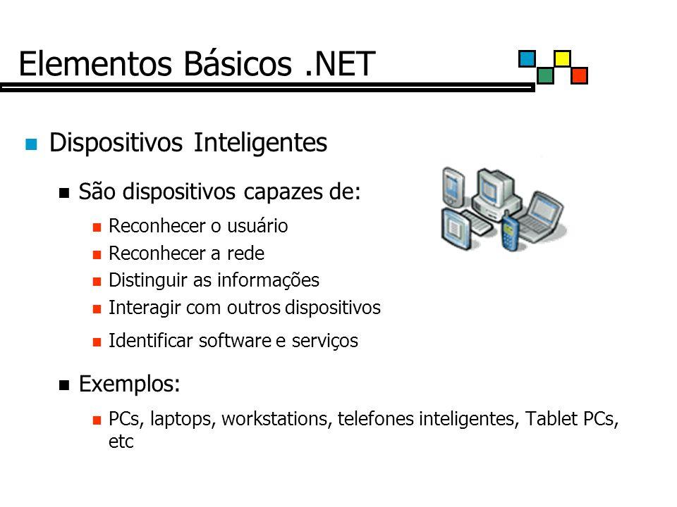 Elementos Básicos.NET Dispositivos Inteligentes São dispositivos capazes de: Reconhecer o usuário Reconhecer a rede Distinguir as informações Interagir com outros dispositivos Identificar software e serviços Exemplos: PCs, laptops, workstations, telefones inteligentes, Tablet PCs, etc
