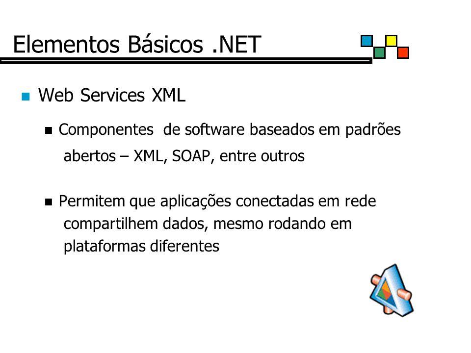 Elementos Básicos.NET Web Services XML Componentes de software baseados em padrões abertos – XML, SOAP, entre outros Permitem que aplicações conectadas em rede compartilhem dados, mesmo rodando em plataformas diferentes