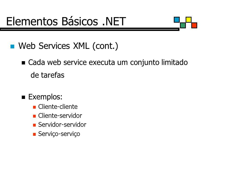 Elementos Básicos.NET Web Services XML (cont.) Cada web service executa um conjunto limitado de tarefas Exemplos: Cliente-cliente Cliente-servidor Servidor-servidor Serviço-serviço