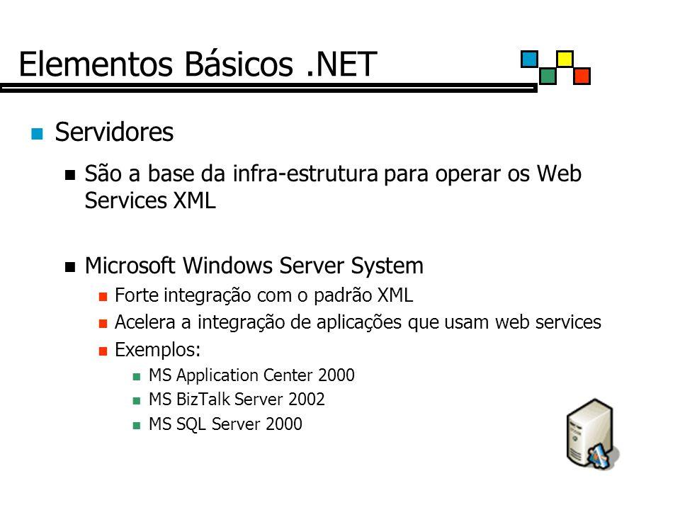 Elementos Básicos.NET Servidores São a base da infra-estrutura para operar os Web Services XML Microsoft Windows Server System Forte integração com o padrão XML Acelera a integração de aplicações que usam web services Exemplos: MS Application Center 2000 MS BizTalk Server 2002 MS SQL Server 2000