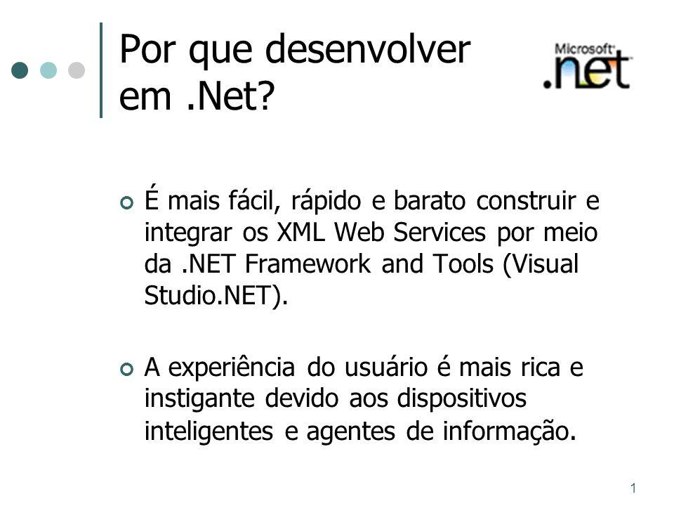 1 Por que desenvolver em.Net? É mais fácil, rápido e barato construir e integrar os XML Web Services por meio da.NET Framework and Tools (Visual Studi