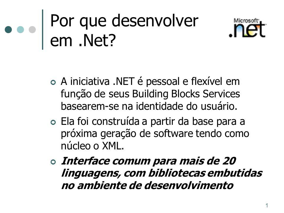 1 Por que desenvolver em.Net? A iniciativa.NET é pessoal e flexível em função de seus Building Blocks Services basearem-se na identidade do usuário. E