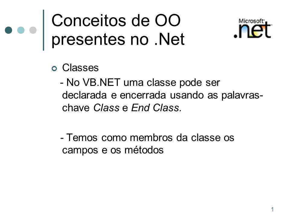 1 Conceitos de OO presentes no.Net Classes - No VB.NET uma classe pode ser declarada e encerrada usando as palavras- chave Class e End Class. - Temos