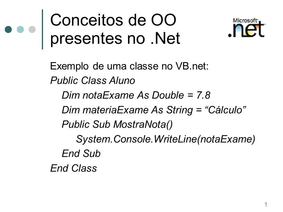 1 Conceitos de OO presentes no.Net Exemplo de uma classe no VB.net: Public Class Aluno Dim notaExame As Double = 7.8 Dim materiaExame As String = Cálculo Public Sub MostraNota() System.Console.WriteLine(notaExame) End Sub End Class