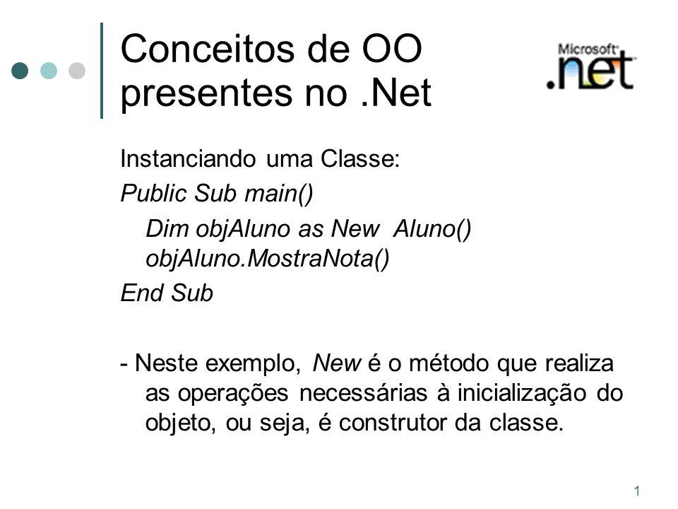 1 Conceitos de OO presentes no.Net Instanciando uma Classe: Public Sub main() Dim objAluno as New Aluno() objAluno.MostraNota() End Sub - Neste exemplo, New é o método que realiza as operações necessárias à inicialização do objeto, ou seja, é construtor da classe.