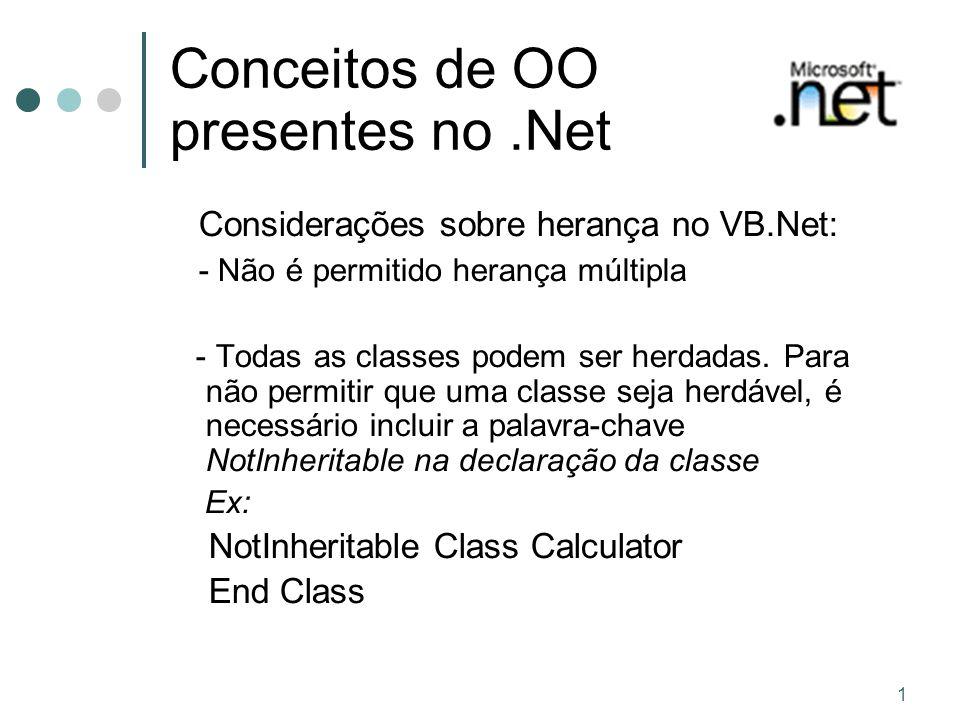 1 Conceitos de OO presentes no.Net Considerações sobre herança no VB.Net: - Não é permitido herança múltipla - Todas as classes podem ser herdadas.
