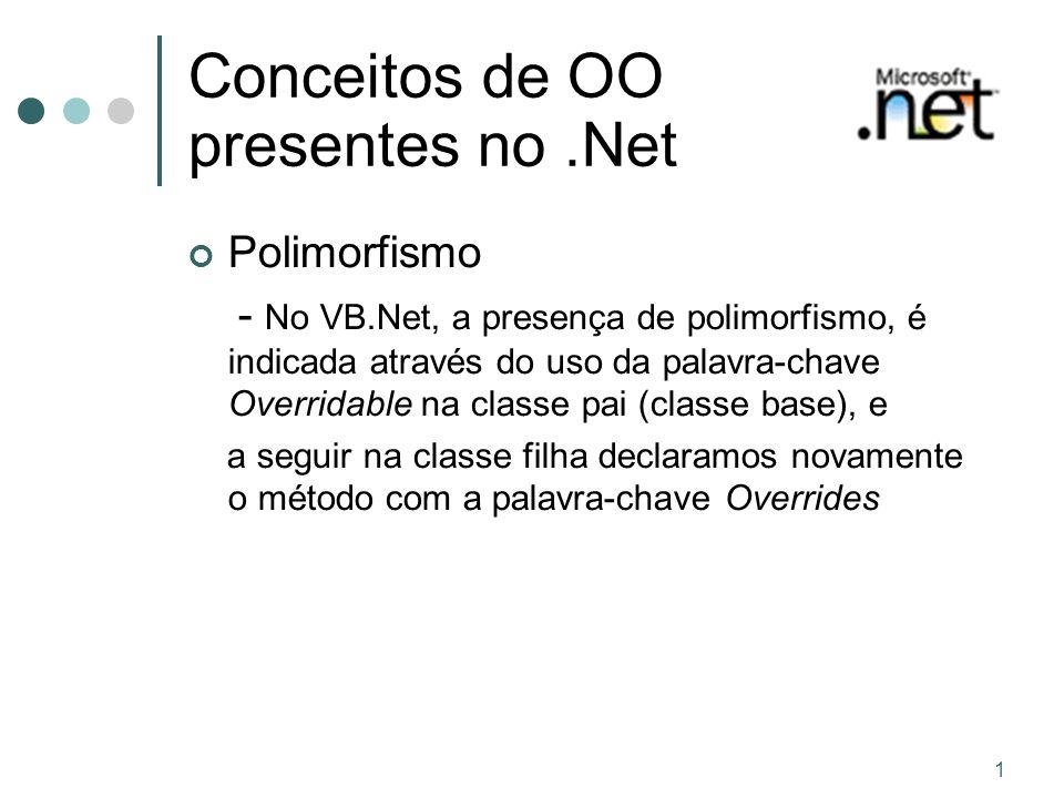 1 Conceitos de OO presentes no.Net Polimorfismo - No VB.Net, a presença de polimorfismo, é indicada através do uso da palavra-chave Overridable na cla
