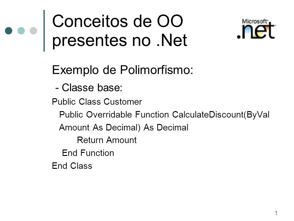 1 Conceitos de OO presentes no.Net Exemplo de Polimorfismo: - Classe base: Public Class Customer Public Overridable Function CalculateDiscount(ByVal Amount As Decimal) As Decimal Return Amount End Function End Class