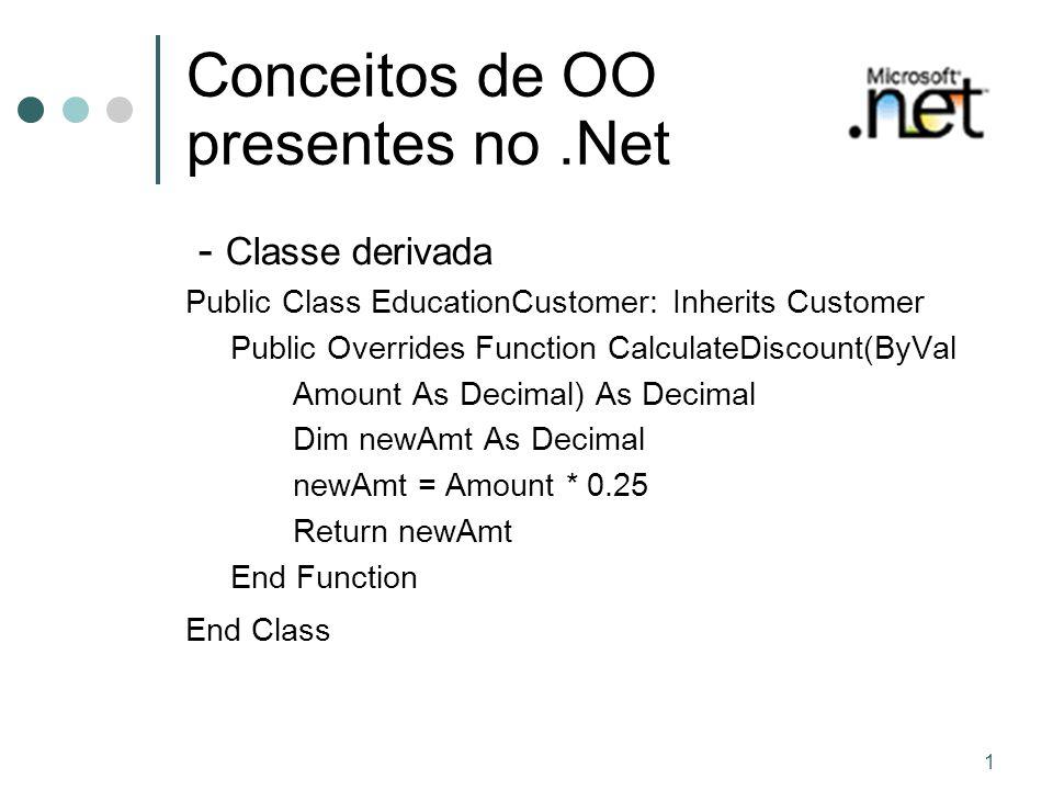 1 Conceitos de OO presentes no.Net - Classe derivada Public Class EducationCustomer: Inherits Customer Public Overrides Function CalculateDiscount(ByVal Amount As Decimal) As Decimal Dim newAmt As Decimal newAmt = Amount * 0.25 Return newAmt End Function End Class