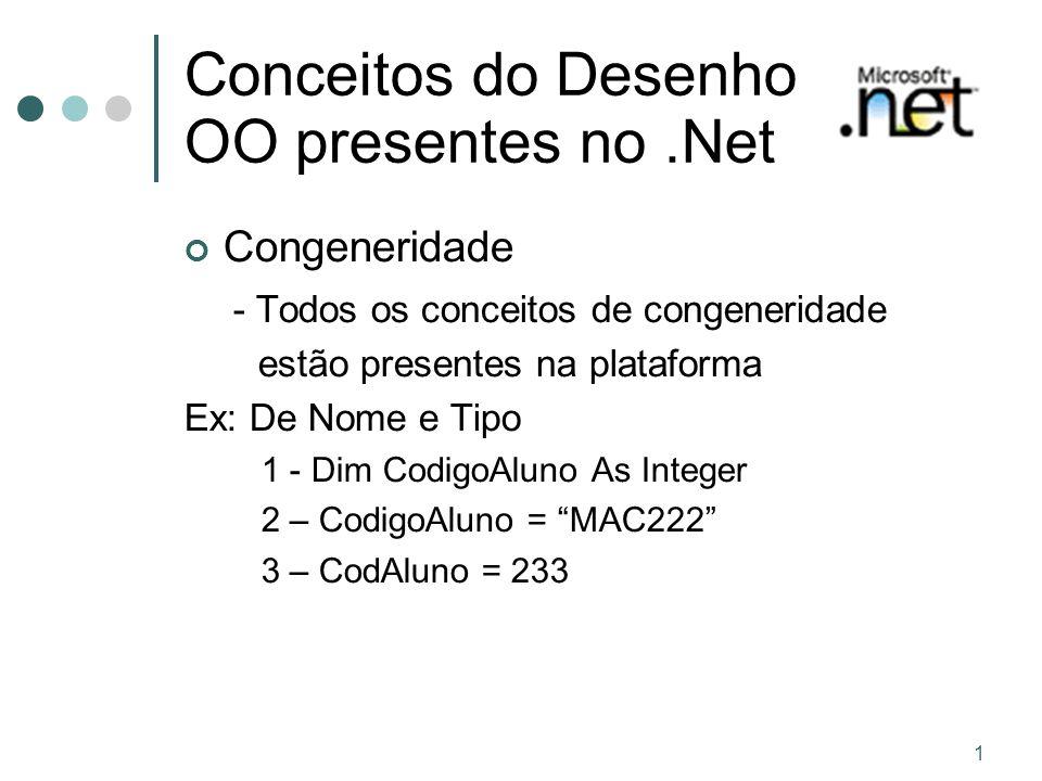 1 Conceitos do Desenho OO presentes no.Net Congeneridade - Todos os conceitos de congeneridade estão presentes na plataforma Ex: De Nome e Tipo 1 - Dim CodigoAluno As Integer 2 – CodigoAluno = MAC222 3 – CodAluno = 233