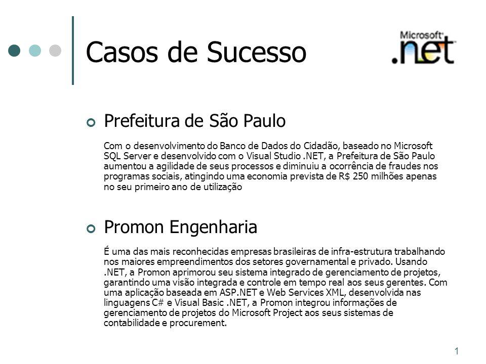 1 Casos de Sucesso Prefeitura de São Paulo Com o desenvolvimento do Banco de Dados do Cidadão, baseado no Microsoft SQL Server e desenvolvido com o Vi