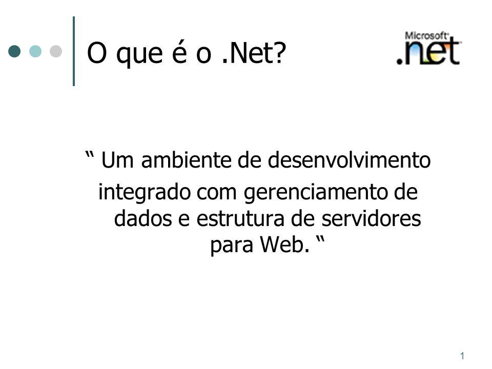1 O que é o.Net? Um ambiente de desenvolvimento integrado com gerenciamento de dados e estrutura de servidores para Web.