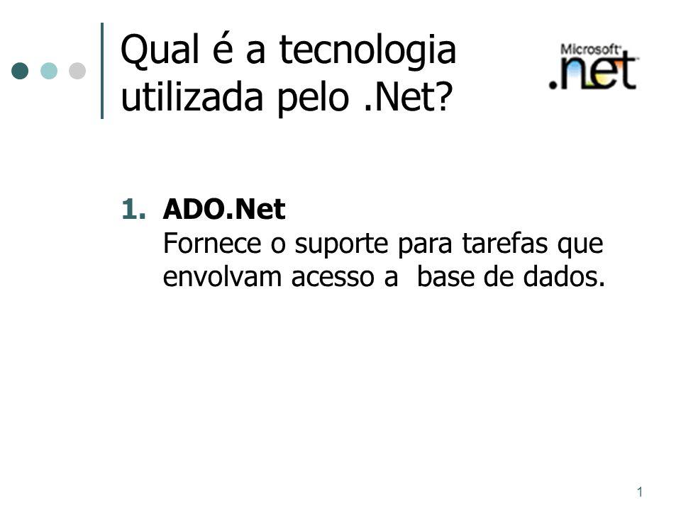1 Qual é a tecnologia utilizada pelo.Net? 1.ADO.Net Fornece o suporte para tarefas que envolvam acesso a base de dados.