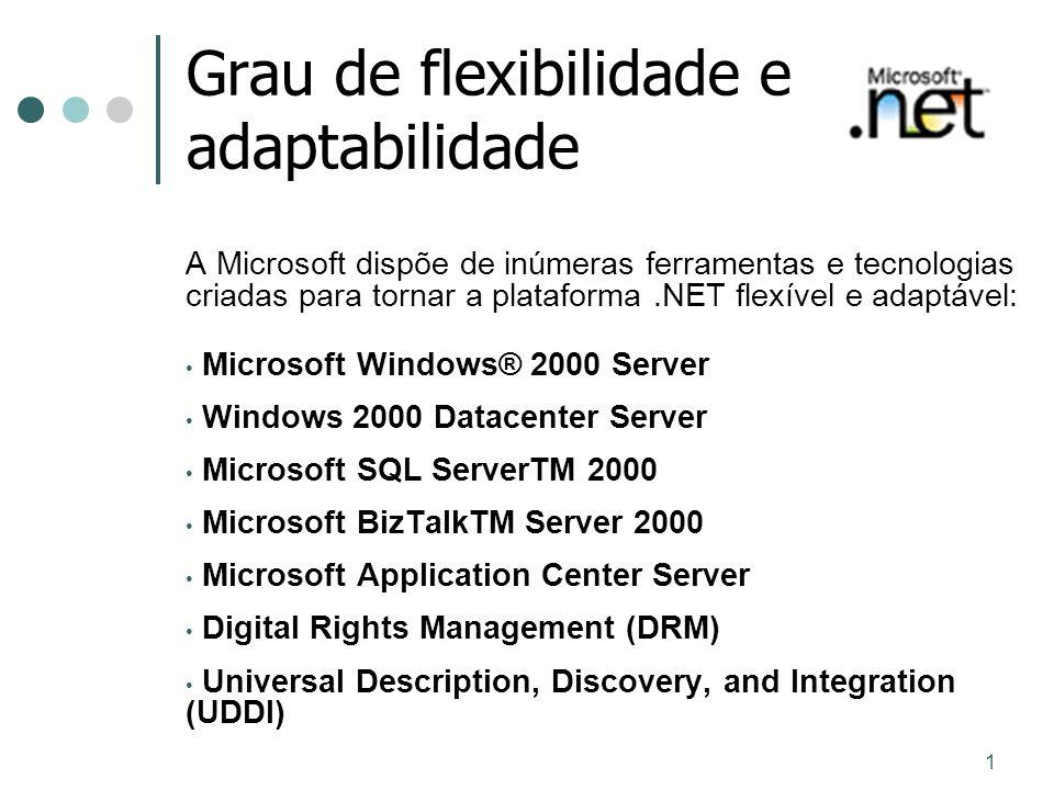 1 Grau de flexibilidade e adaptabilidade A Microsoft dispõe de inúmeras ferramentas e tecnologias criadas para tornar a plataforma.NET flexível e adap