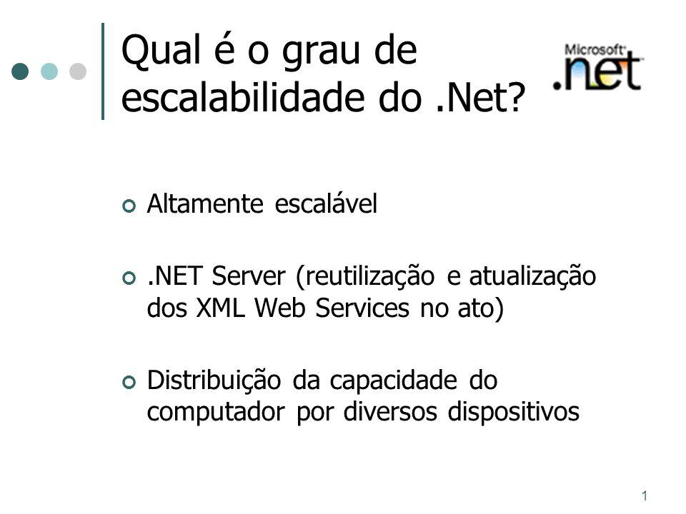 1 Qual é o grau de escalabilidade do.Net? Altamente escalável.NET Server (reutilização e atualização dos XML Web Services no ato) Distribuição da capa
