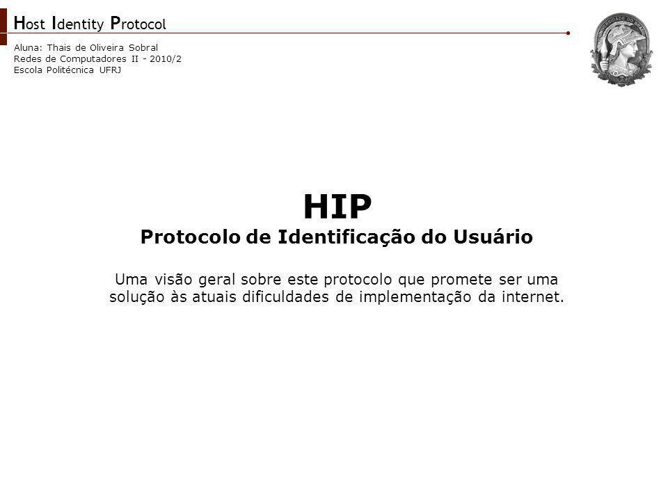 H ost I dentity P rotocol Aluna: Thais de Oliveira Sobral Redes de Computadores II - 2010/2 Escola Politécnica UFRJ Introdução Atualmente a internet é descrita por dois espaços de nomes: DNS e IP.