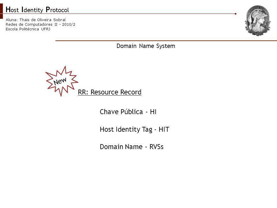 H ost I dentity P rotocol Aluna: Thais de Oliveira Sobral Redes de Computadores II - 2010/2 Escola Politécnica UFRJ New RR: Resource Record Domain Name System Chave Pública - HI Host Identity Tag - HIT Domain Name - RVSs