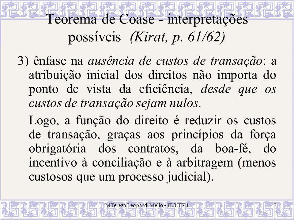 MTereza Leopardi Mello - IE/UFRJ17 Teorema de Coase - interpretações possíveis (Kirat, p. 61/62) 3) ênfase na ausência de custos de transação: a atrib