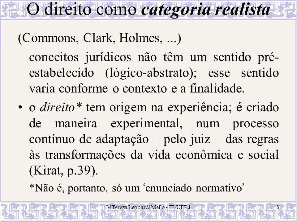 MTereza Leopardi Mello - IE/UFRJ8 O direito como categoria realista (Commons, Clark, Holmes,...) conceitos jurídicos não têm um sentido pré- estabelec