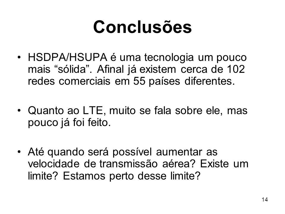 14 Conclusões HSDPA/HSUPA é uma tecnologia um pouco mais sólida.