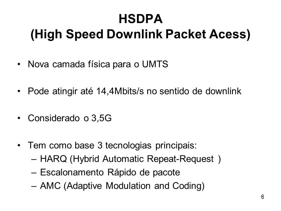 6 HSDPA (High Speed Downlink Packet Acess) Nova camada física para o UMTS Pode atingir até 14,4Mbits/s no sentido de downlink Considerado o 3,5G Tem como base 3 tecnologias principais: –HARQ (Hybrid Automatic Repeat-Request ) –Escalonamento Rápido de pacote –AMC (Adaptive Modulation and Coding)
