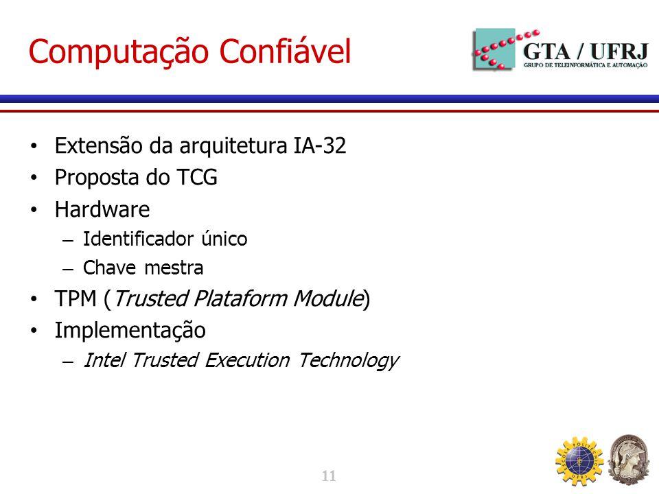 11 Computação Confiável Extensão da arquitetura IA-32 Proposta do TCG Hardware – Identificador único – Chave mestra TPM (Trusted Plataform Module) Implementação – Intel Trusted Execution Technology