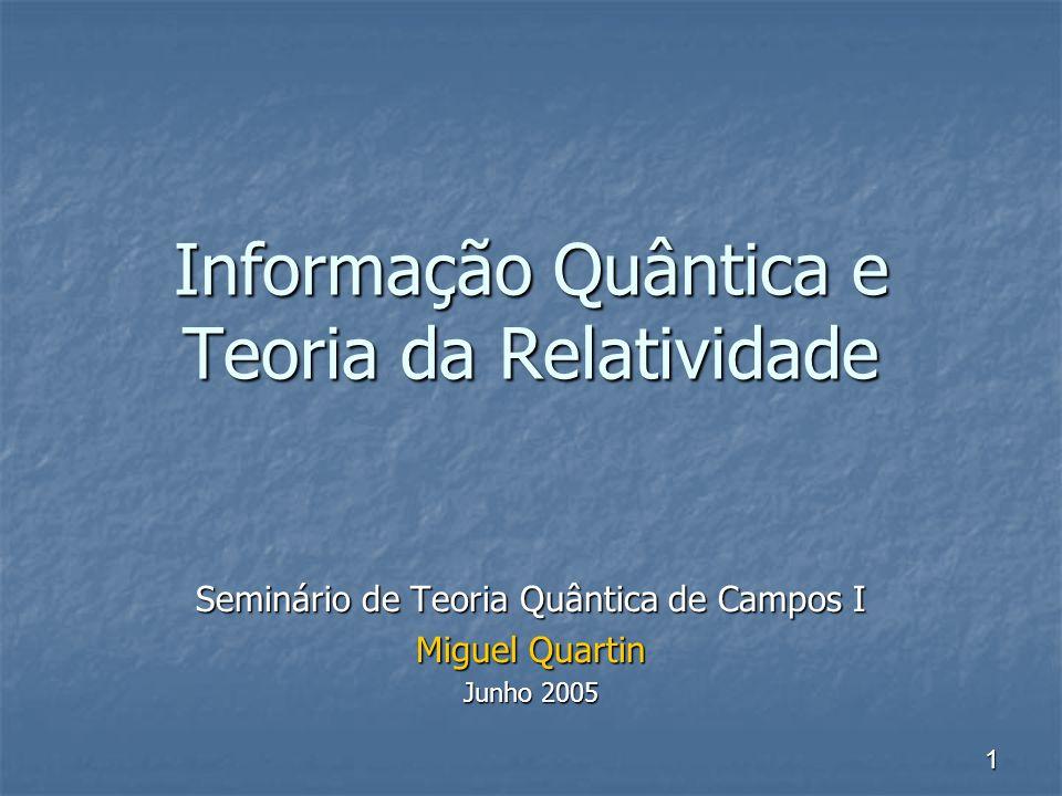 1 Informação Quântica e Teoria da Relatividade Seminário de Teoria Quântica de Campos I Miguel Quartin Junho 2005