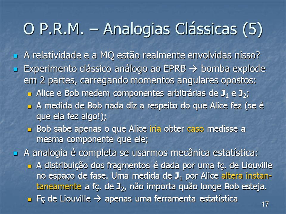 17 O P.R.M. – Analogias Clássicas (5) A relatividade e a MQ estão realmente envolvidas nisso? A relatividade e a MQ estão realmente envolvidas nisso?