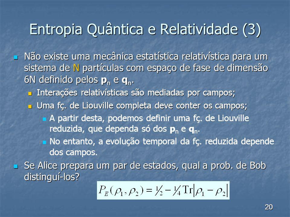 20 Entropia Quântica e Relatividade (3) Não existe uma mecânica estatística relativística para um sistema de N partículas com espaço de fase de dimens