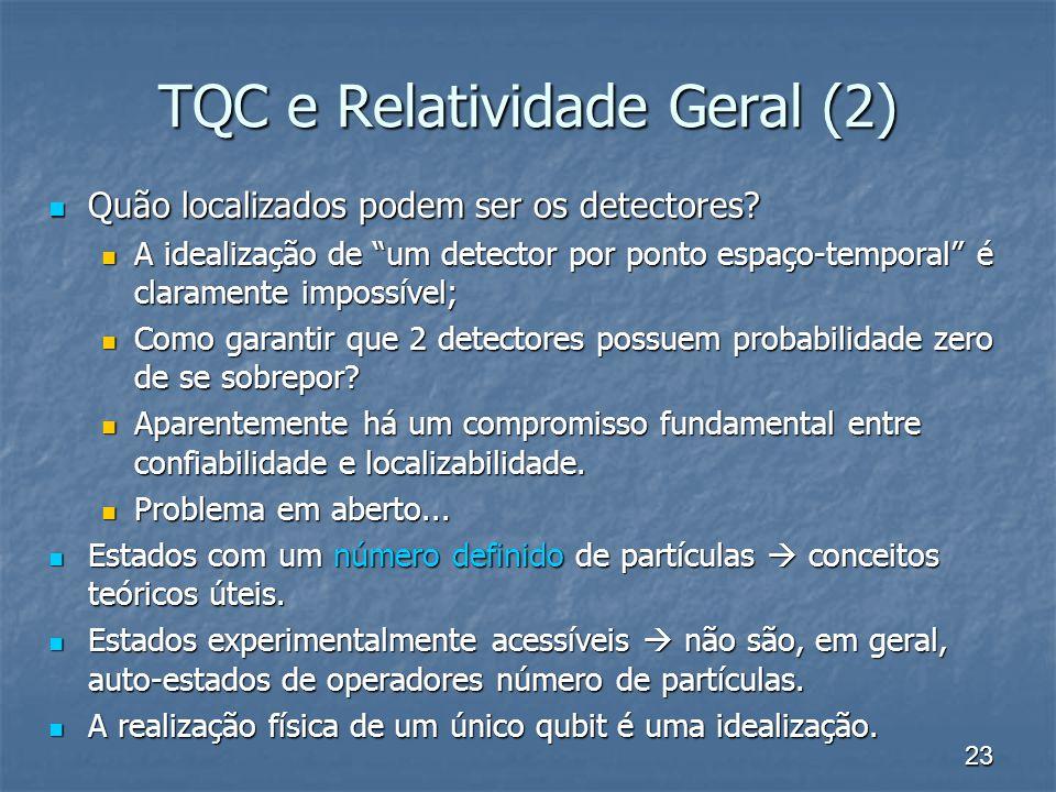 23 TQC e Relatividade Geral (2) Quão localizados podem ser os detectores? Quão localizados podem ser os detectores? A idealização de um detector por p