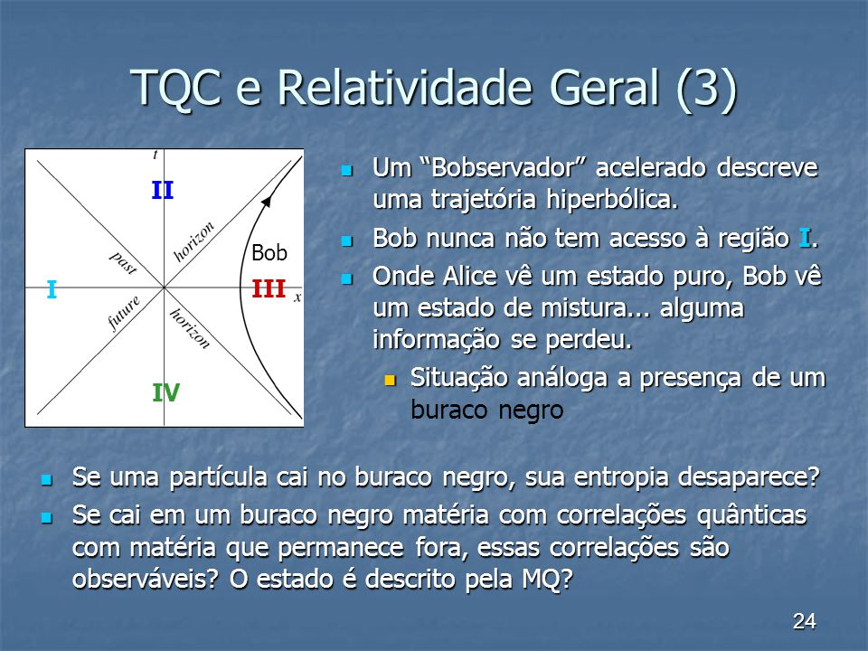 24 TQC e Relatividade Geral (3) Um Bobservador acelerado descreve uma trajetória hiperbólica. Um Bobservador acelerado descreve uma trajetória hiperbó