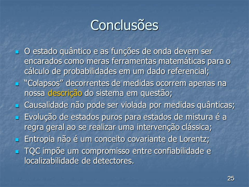 25 Conclusões O estado quântico e as funções de onda devem ser encarados como meras ferramentas matemáticas para o cálculo de probabilidades em um dad