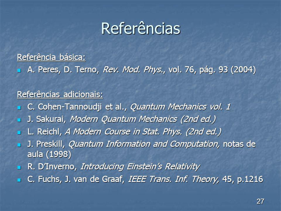 27 Referências Referência básica: A. Peres, D. Terno, Rev. Mod. Phys., vol. 76, pág. 93 (2004) A. Peres, D. Terno, Rev. Mod. Phys., vol. 76, pág. 93 (