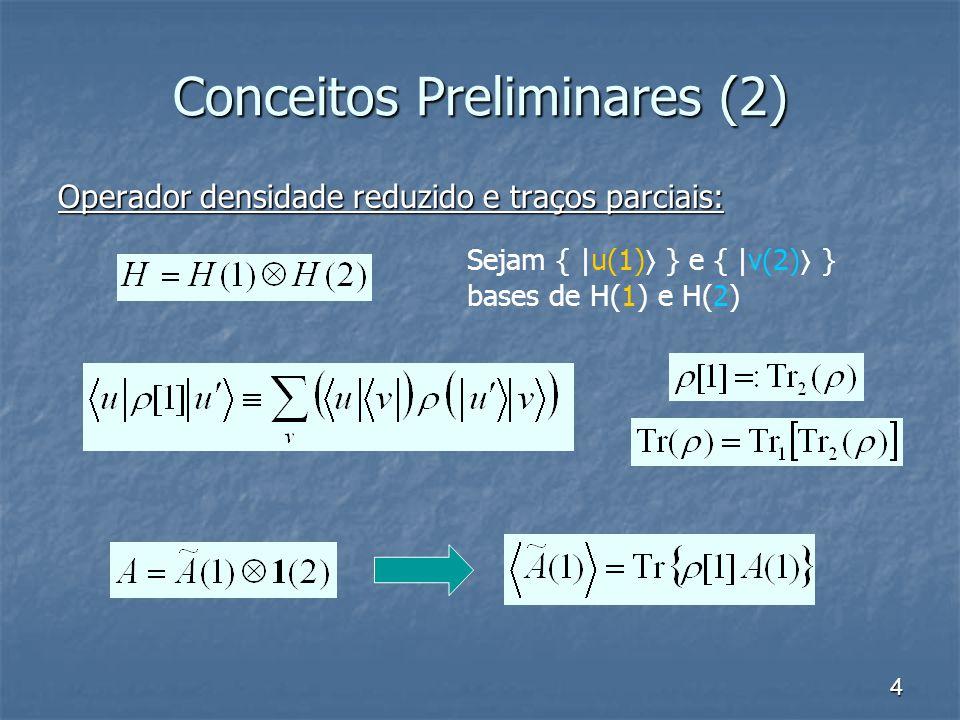 4 Conceitos Preliminares (2) Operador densidade reduzido e traços parciais: Sejam { |u(1) } e { |v(2) } bases de H(1) e H(2)