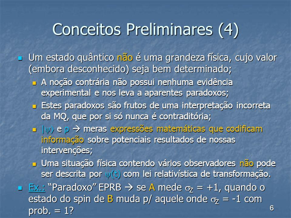 6 Conceitos Preliminares (4) Um estado quântico não é uma grandeza física, cujo valor (embora desconhecido) seja bem determinado; Um estado quântico n