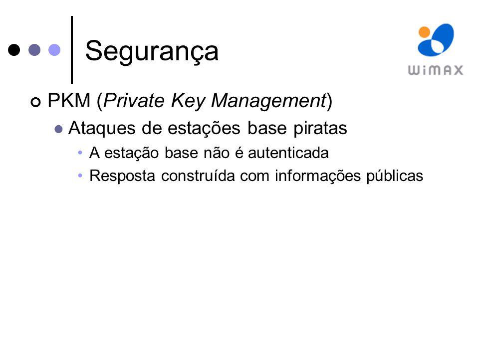 Segurança PKM (Private Key Management) Ataques de estações base piratas A estação base não é autenticada Resposta construída com informações públicas