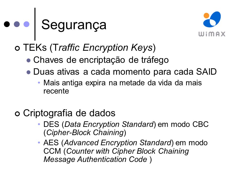 Segurança TEKs (Traffic Encryption Keys) Chaves de encriptação de tráfego Duas ativas a cada momento para cada SAID Mais antiga expira na metade da vida da mais recente Criptografia de dados DES (Data Encryption Standard) em modo CBC (Cipher-Block Chaining) AES (Advanced Encryption Standard) em modo CCM (Counter with Cipher Block Chaining Message Authentication Code )
