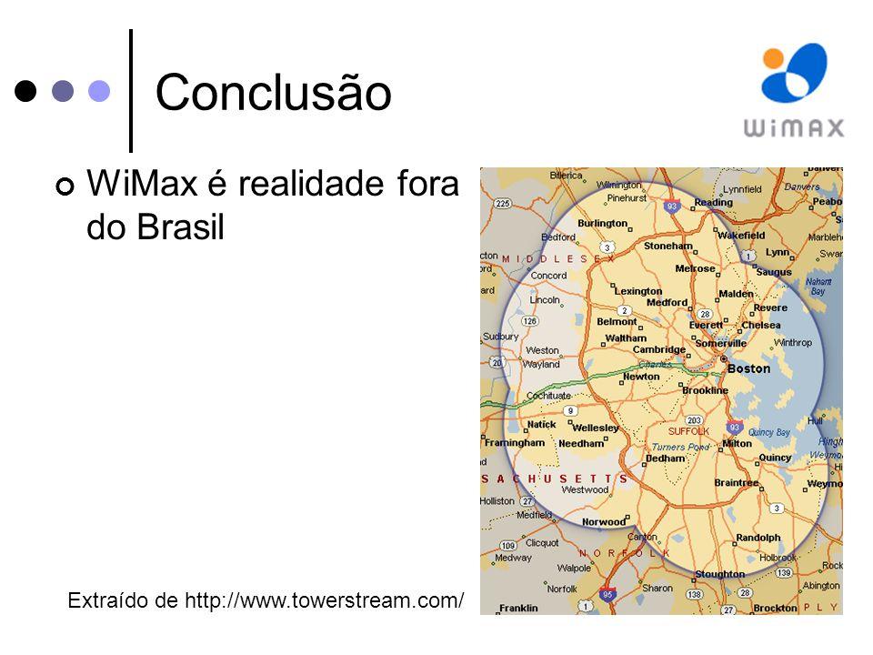 Conclusão WiMax é realidade fora do Brasil Extraído de http://www.towerstream.com/
