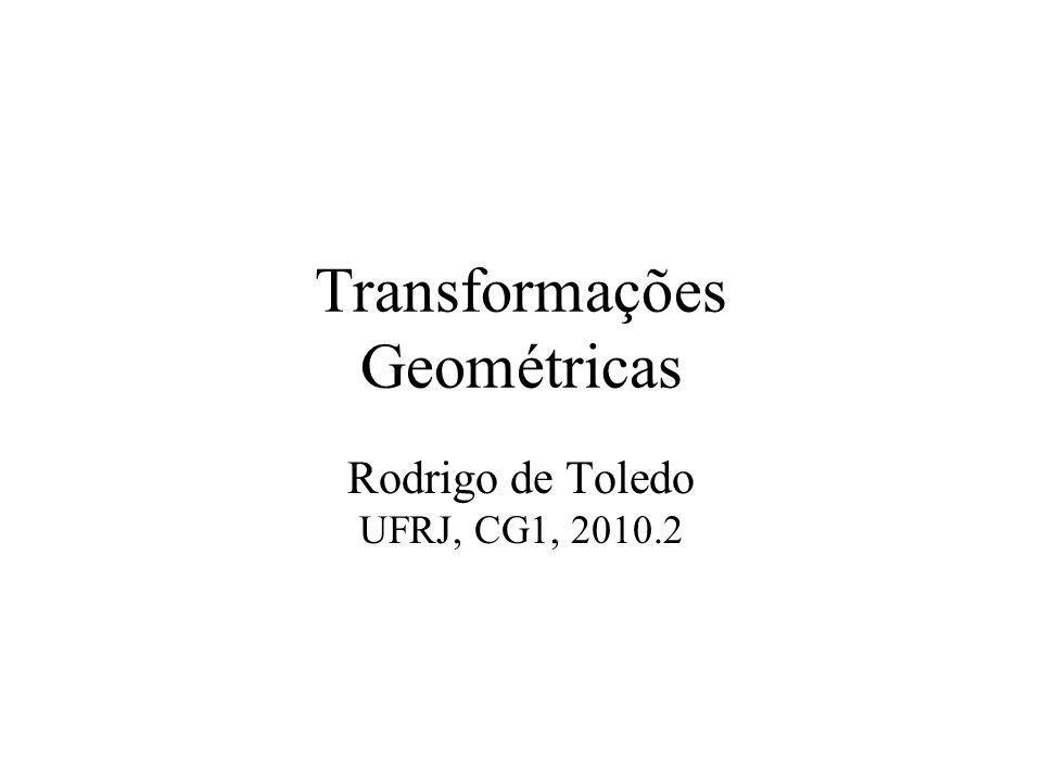 Índice Exemplos de Transformações 2D Fórmulas e cálculos das transformações 2D Usando matriz de transformação (por que?) Coordenadas Homogêneas Concatenação de transformações Transformações 3D