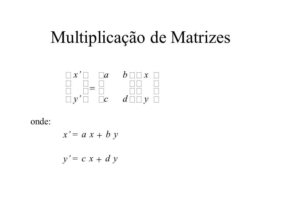 Multiplicação de Matrizes ab cd x y x y axby x = cxdy y = onde: