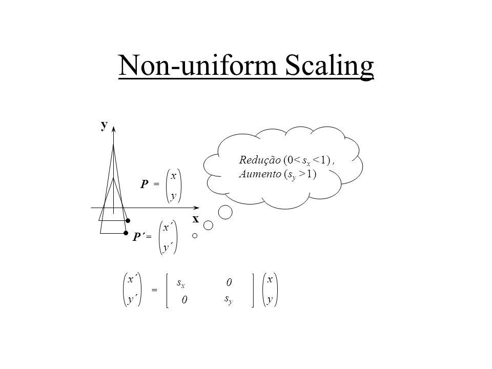 Non-uniform Scaling x y sxsx x´ y´ = x y P = x´ y´ P´ = x y 0 sysy 0 Redução (0< s x <1), Aumento (s y >1)