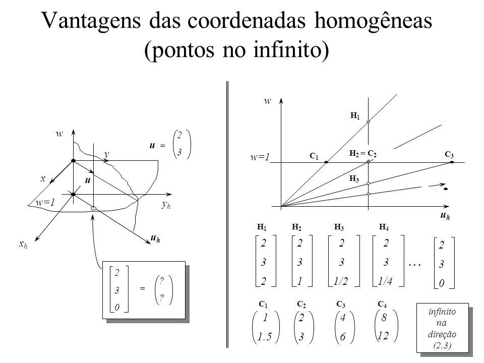 Vantagens das coordenadas homogêneas (pontos no infinito) w=1 uhuh w H1H1 C1C1 H 2 = C 2 H3H3 C3C3 2 3 2 2 3 1 2 3 1/2 2 3 1/4 2 3 0...