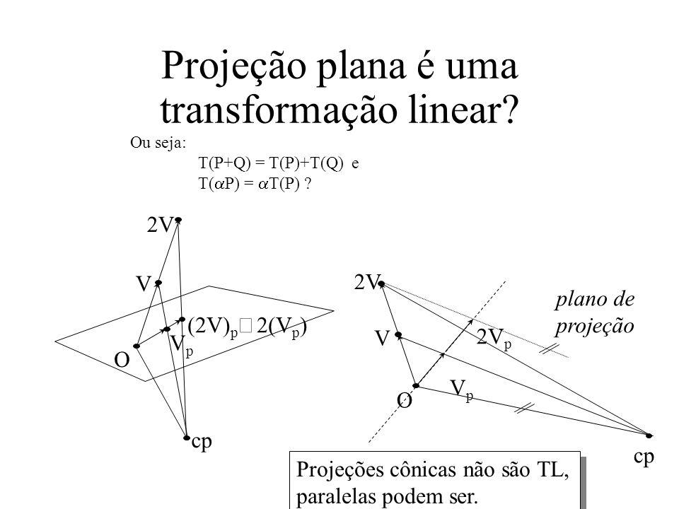 Projeção plana é uma transformação linear.Ou seja: T(P+Q) = T(P)+T(Q) e T( P) = T(P) .