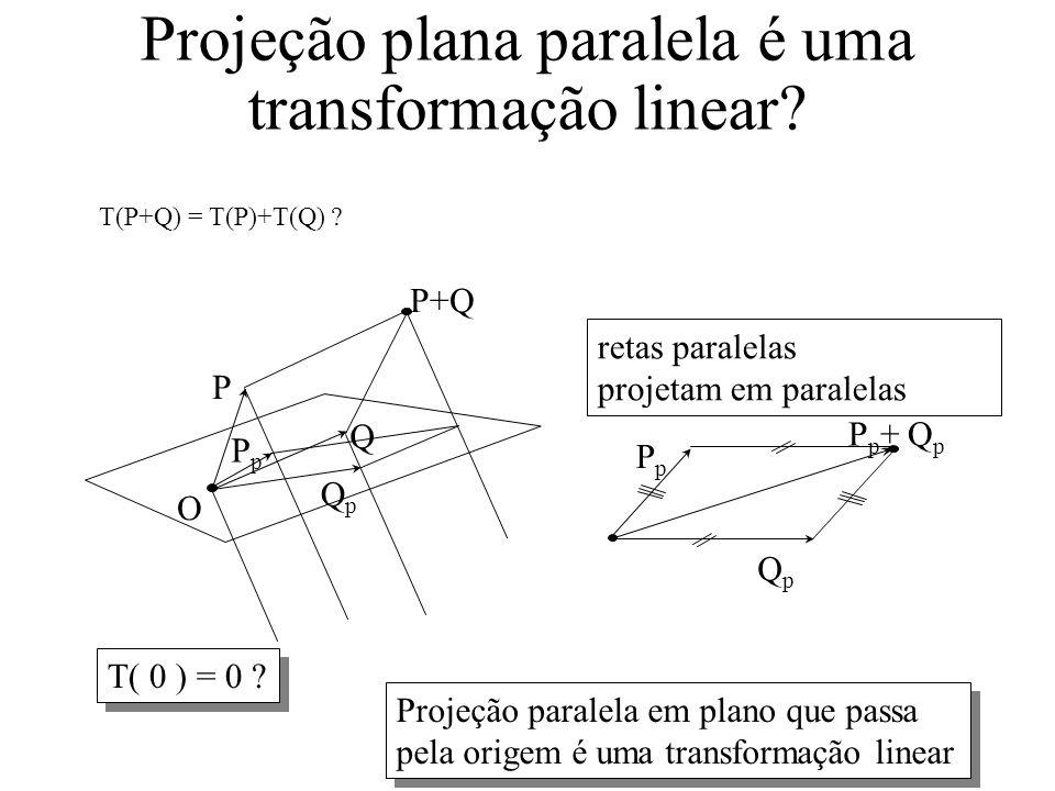 Projeção plana paralela é uma transformação linear.